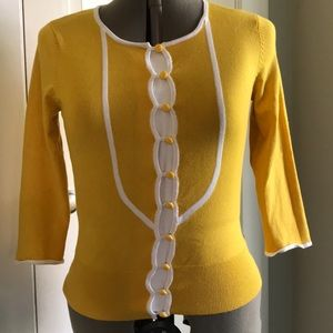 """Retro, Yellow Fitted Button-up """"Secretary"""" Sweater"""